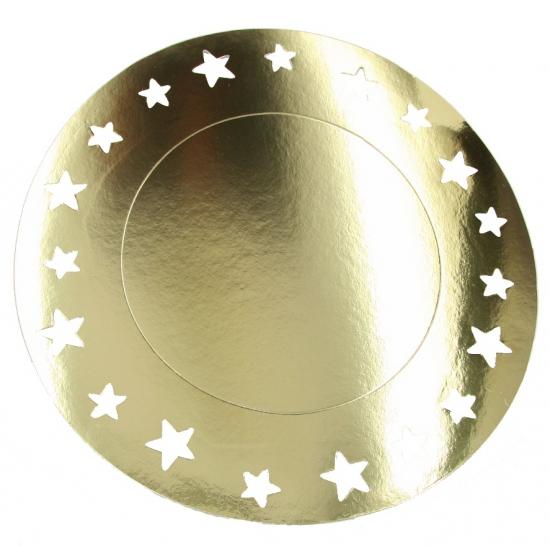 Grote feestplacemats metallic goud 6 stuks
