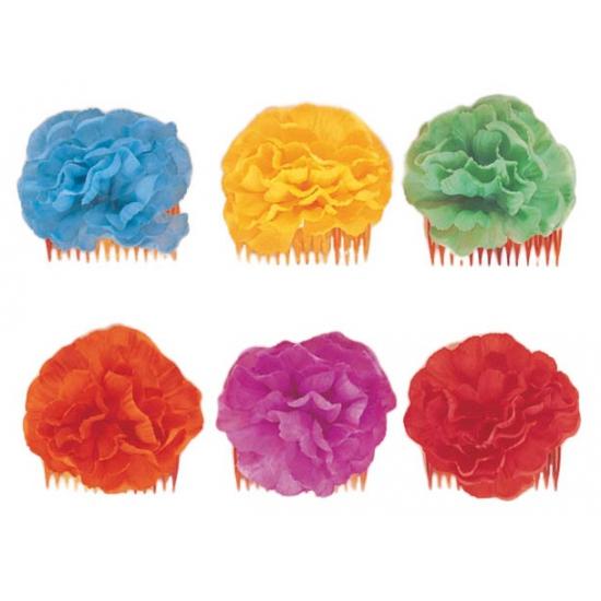 Haarklemmen met blauwe bloem