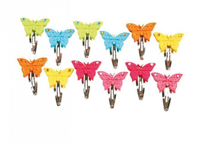 Haarspeldje met vilten vlinders 12 stuks