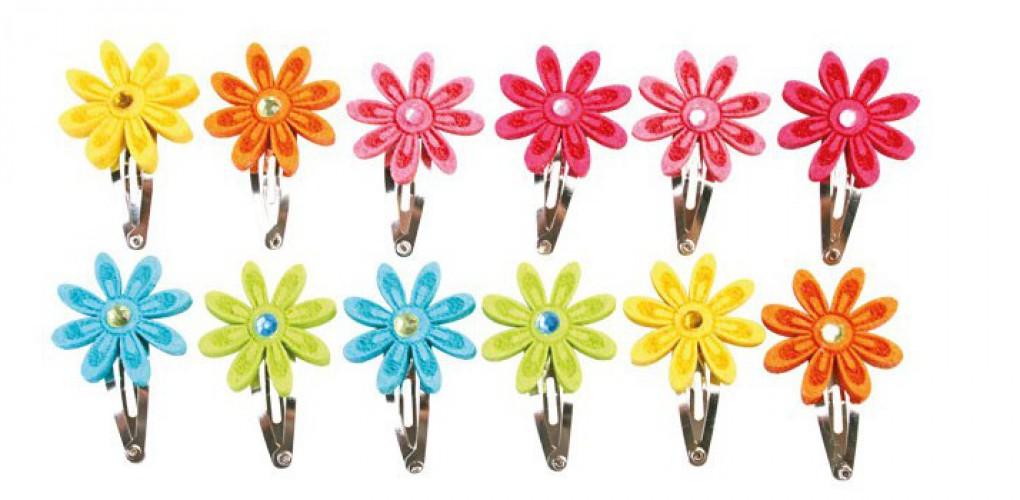 Haarspeldjes met gekleurde bloemen