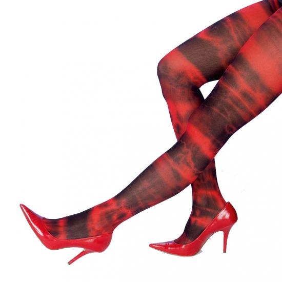 Halloween dames panty rood/zwart