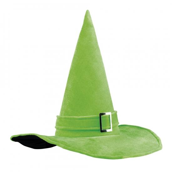 Halloween heksenhoed groen met gesp