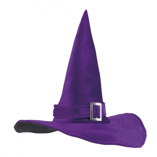 Halloween heksenhoed paars met gesp