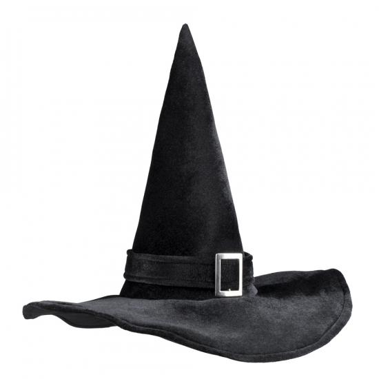 Halloween heksenhoed zwart met gesp