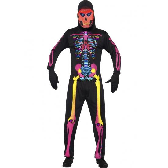 Halloween heren kostuum neon skelet