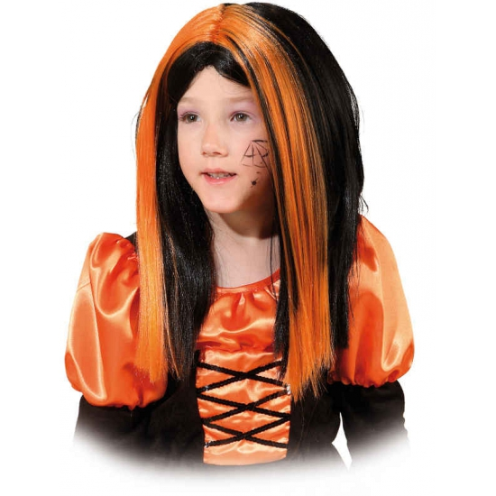 Halloween kinderpruik zwart oranje