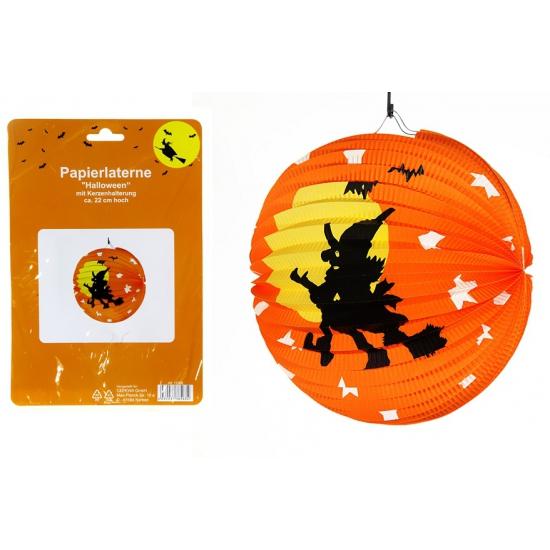 Halloween lampionnen met heks 22 cm