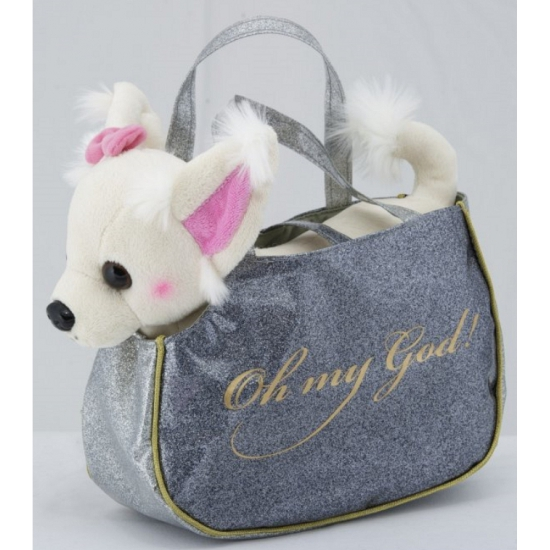 Handtasje met witte Chihuahua knuffel 23 cm