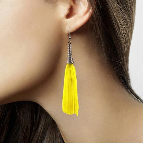 Hang oorbellen neon geel