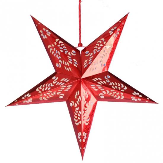 Hangdecoratie ster rood 60 cm