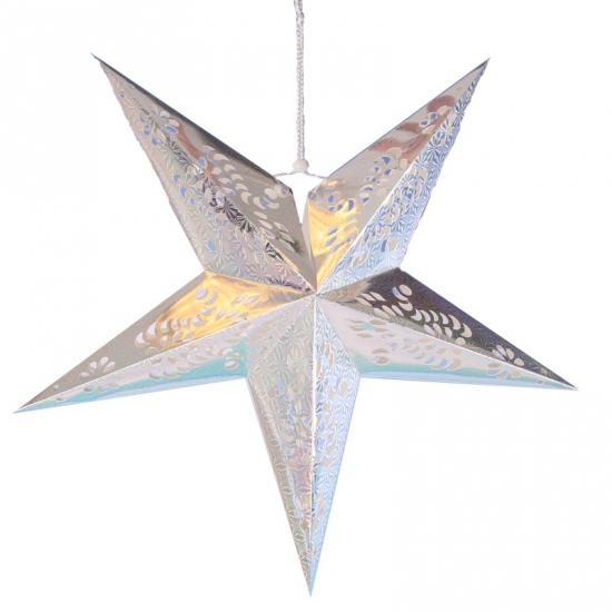 Hangdecoratie ster zilver 60 cm