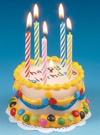 Happy Birthday kaars in de vorm van een taart