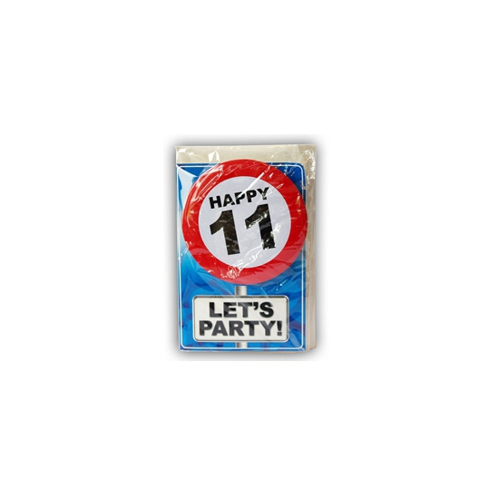 Happy Birthday kaart met button 11 jaar