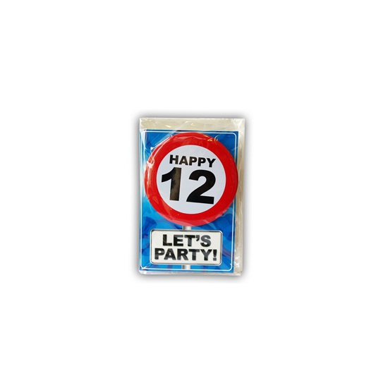 Happy Birthday kaart met button 12 jaar