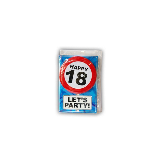 Happy Birthday kaart met button 18 jaar