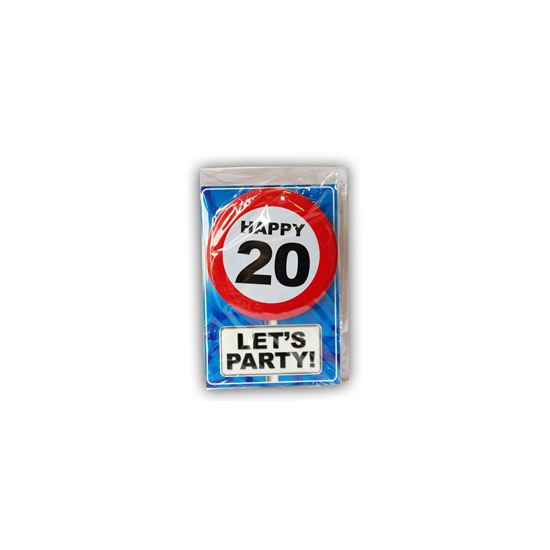 Happy Birthday kaart met button 20 jaar