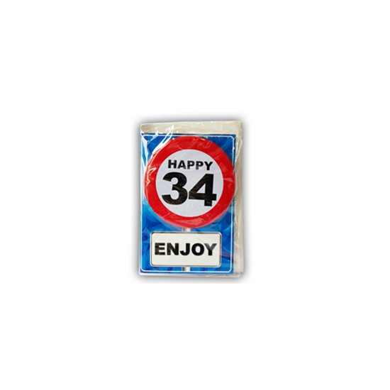 Happy Birthday kaart met button 34 jaar