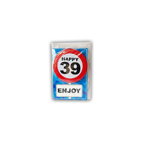 Happy Birthday kaart met button 39 jaar