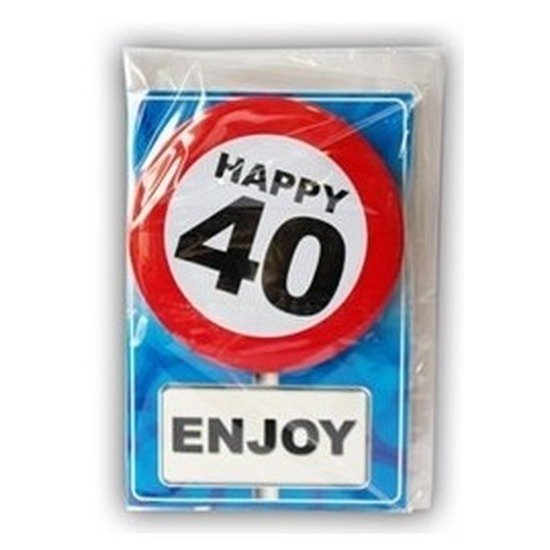 Happy Birthday kaart met button 40 jaar