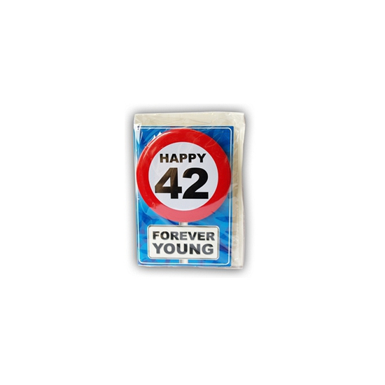 Happy Birthday kaart met button 42 jaar