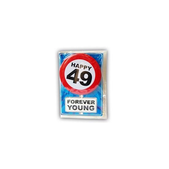 Happy Birthday kaart met button 49 jaar