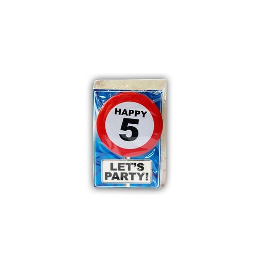 Happy Birthday kaart met button 5 jaar