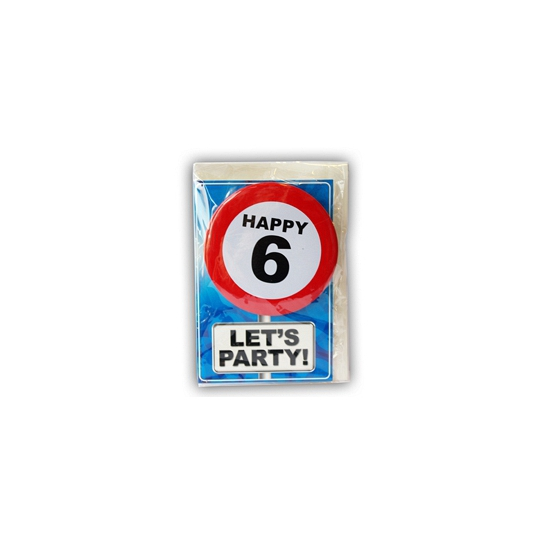 Happy Birthday kaart met button 6 jaar