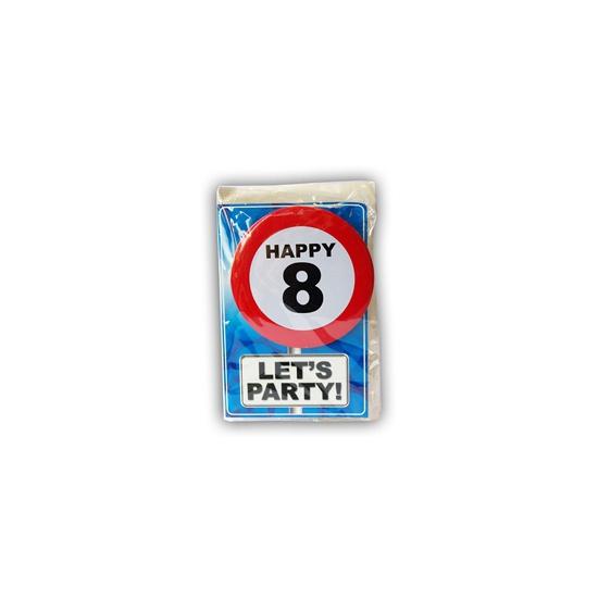 Happy Birthday kaart met button 8 jaar