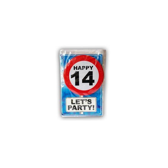 Happy Birthday leeftijd kaart 14 jaar