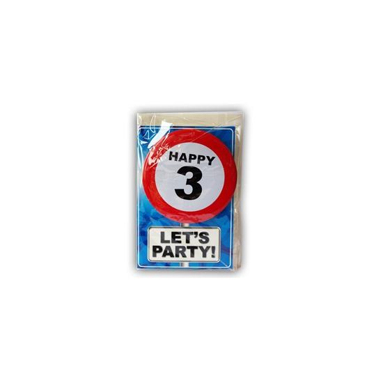 Happy Birthday leeftijd kaart 3 jaar