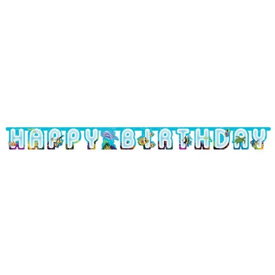 Happy birthday wenslijn met oceaan print