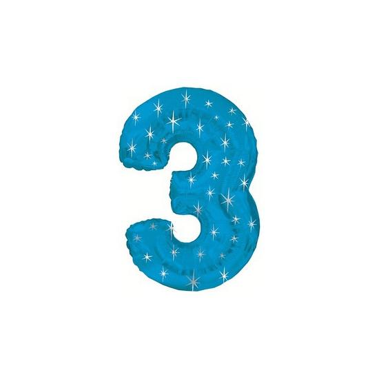 Helium ballon blauw met sparkle nummer 3