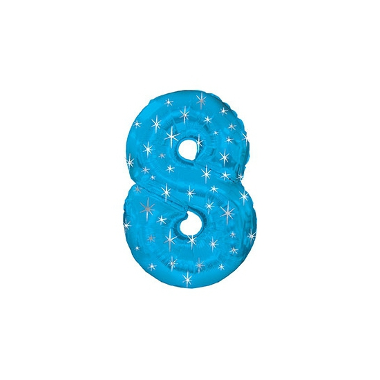Helium ballon blauw met sparkle nummer 8