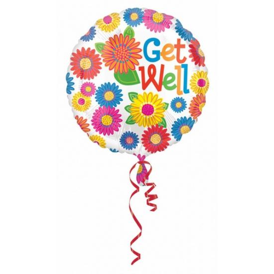 Helium ballon get well met bloemen