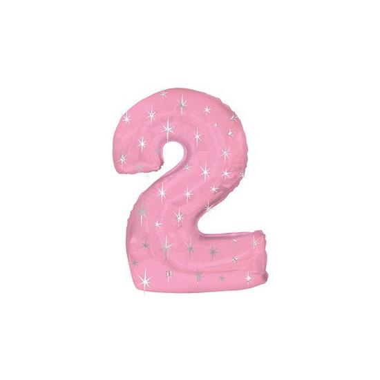 Helium ballon roze met sparkle nummer 2