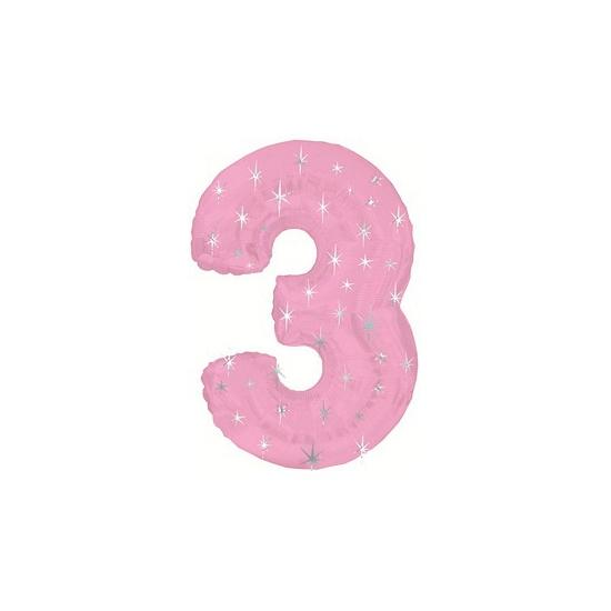 Helium ballon roze met sparkle nummer 3