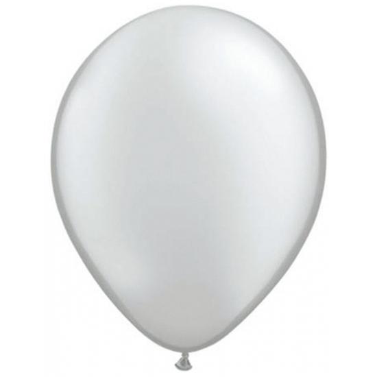 Helium ballonnen metallic zilver 50 stuks