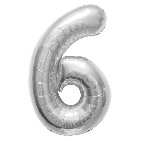 Helium cijfer ballon in zilver 6