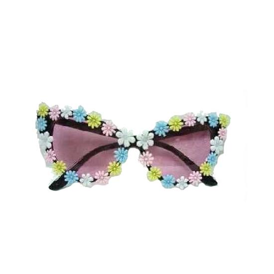 Hippie bril met pastel bloemetjes