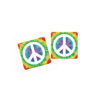 Hippie feest onderzetters 8 stuks