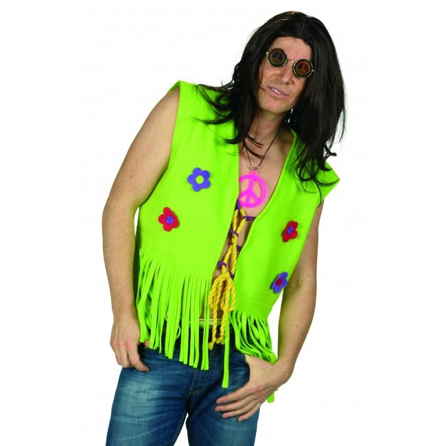 Hippie heren vest met bloemetjes