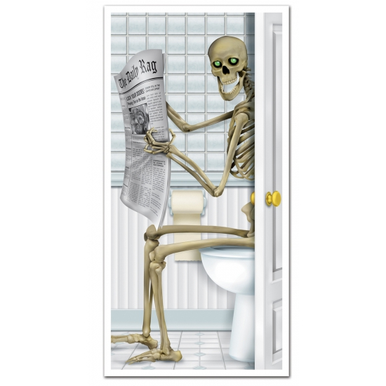 Horror deurposter skelet op toilet 76 x 152 cm
