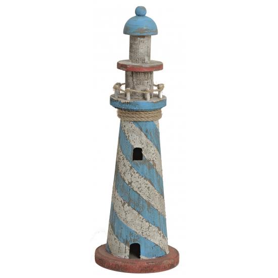 Houten decoratie vuurtoren blauw met wit 36 cm