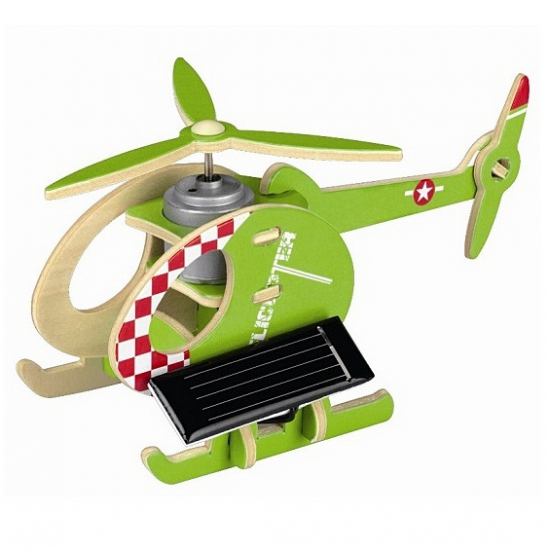 Houten helikopter op zonne energie groen