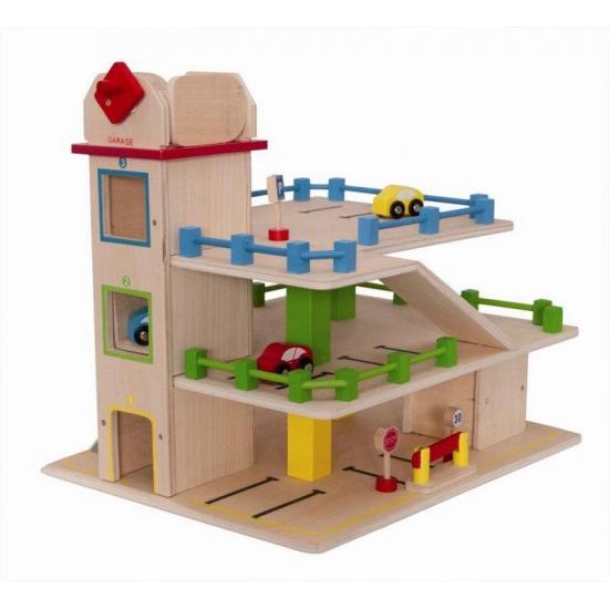 Houten speelgoed parkeergarage