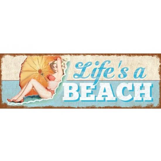 Houten strand bordje ophangbaar