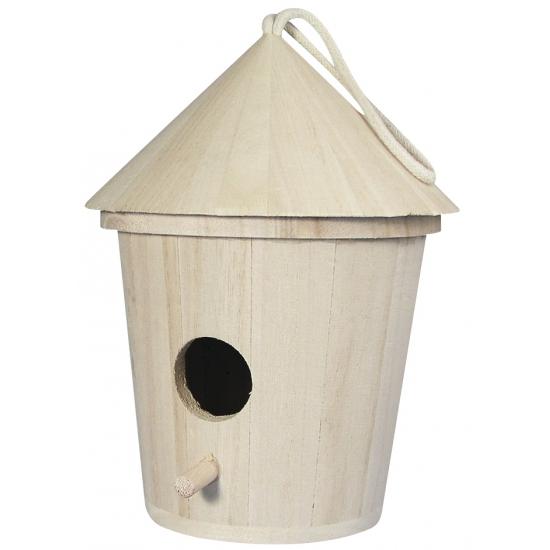 Houten vogelhuis om te versieren 16 cm
