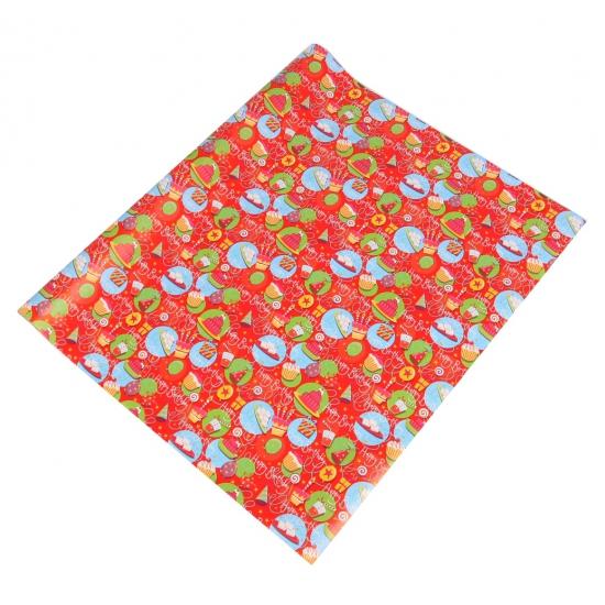 Inpakpapier rood met taarten