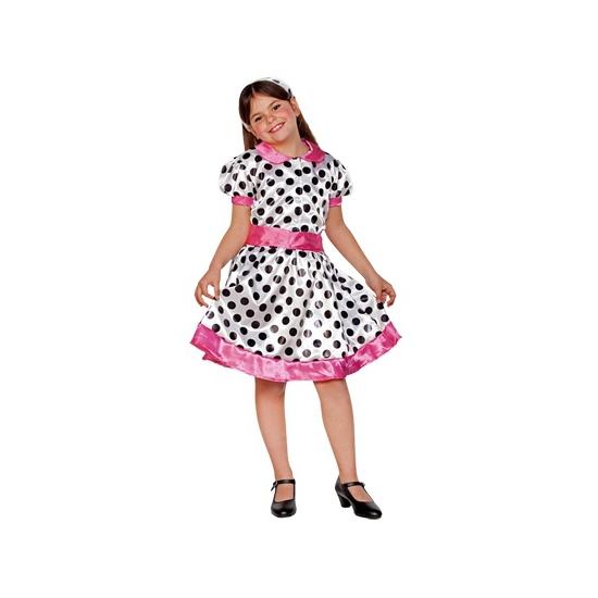 Jaren 70 jurk voor meiden wit roze