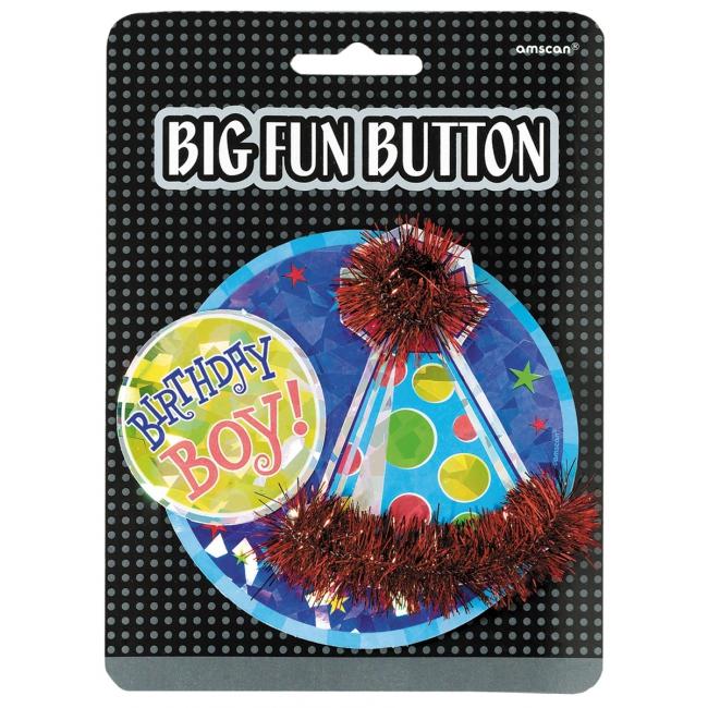 Jongens verjaardag button groot